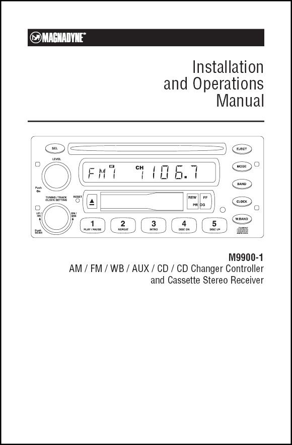 Magnadyne M9900-1 Installation and Operation Manual Magnadyne - operation manual