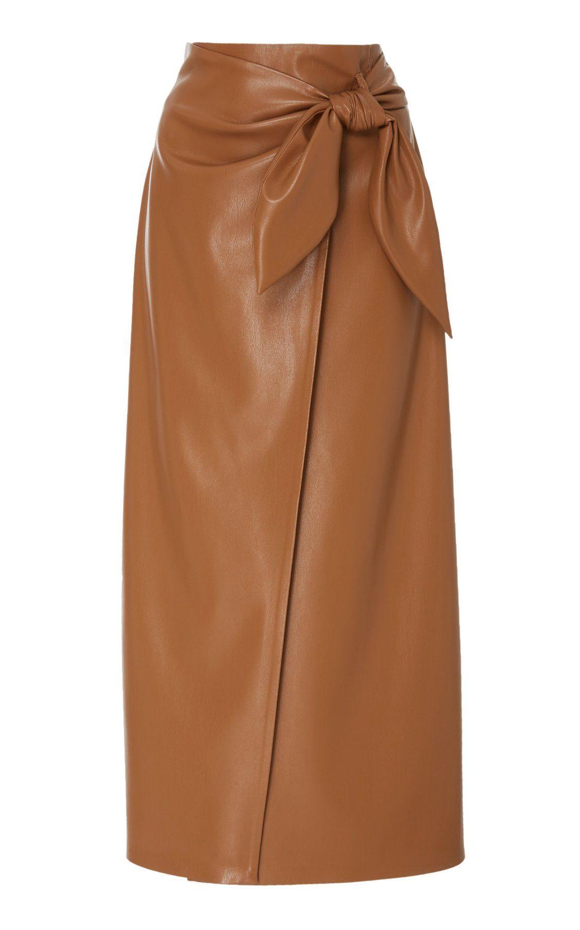 e8c929e054 Amas Tie Front Vegan Leather Midi Skirt by Nanushka PF19   Moda Operandi