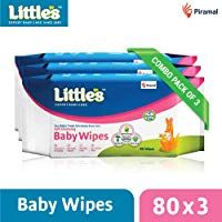 Little's Soft Cleansing Baby Wipes with Aloe Vera Jojoba Oil and Vitamin E (80 Wipes) Pack of 3 #jojobaoil
