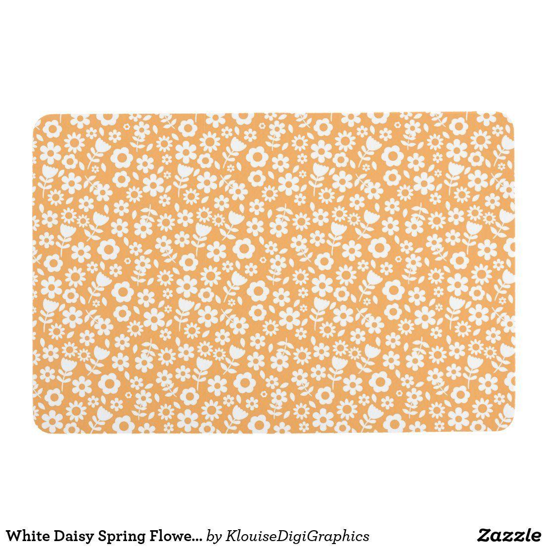 White Daisy Spring Flowers on Bright Orange Floor Mat | Zazzle.com#bright #daisy #floor #flowers #mat #orange #spring #white #zazzlecom