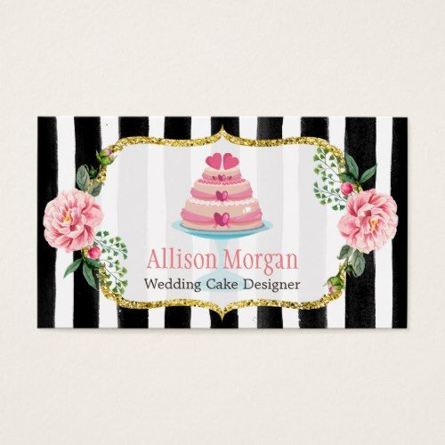 Wedding cake design gold pink floral striped business card wedding cake design gold pink floral striped business card colourmoves