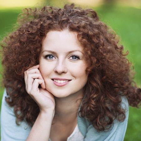 shoulderlength brown hair with perm  older women