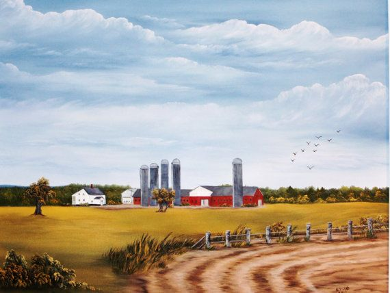 Five Silos by ArtWorkbyElsie on Etsy