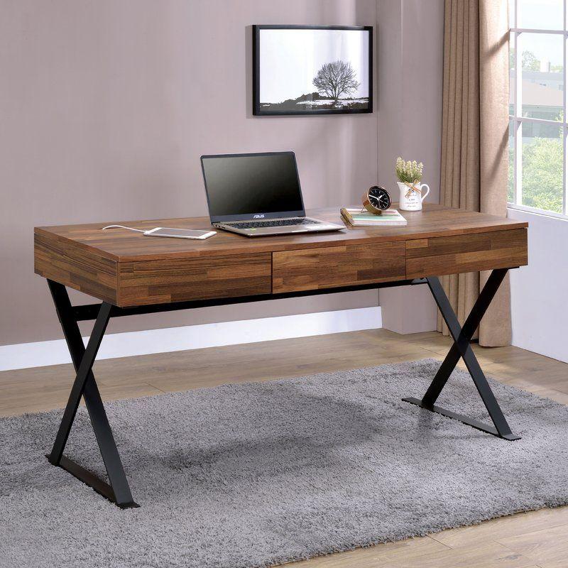 Bodnar 3 Drawer Computer Desk Wood And Metal Desk Home Office Furniture Home Office Desks