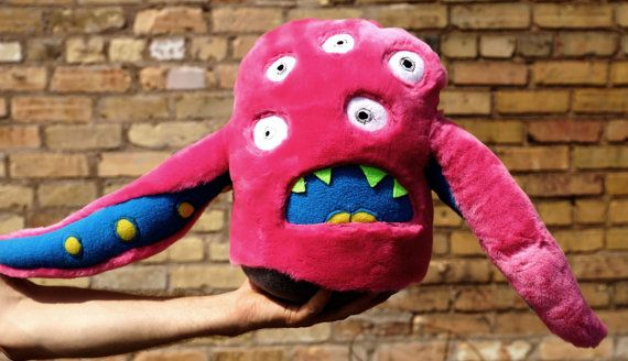 Multi Eyed Pink Tentacle Monster by timmonsters on Etsy, $45.00