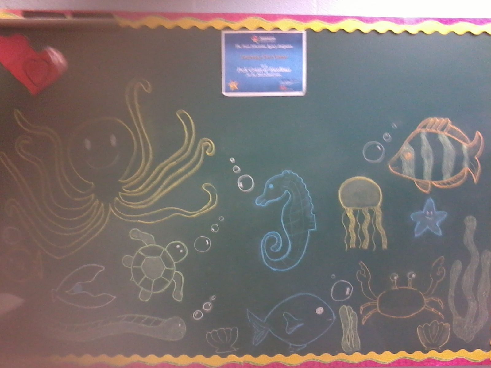 ocean theme chalkboard drawing