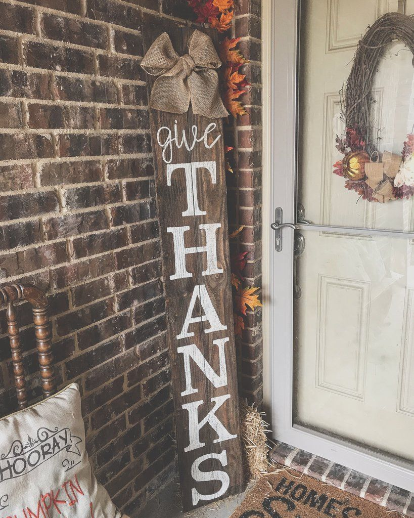 6ft Give Thanks Porch Sign Porch Signs Fall Wood Signs Diy Fall