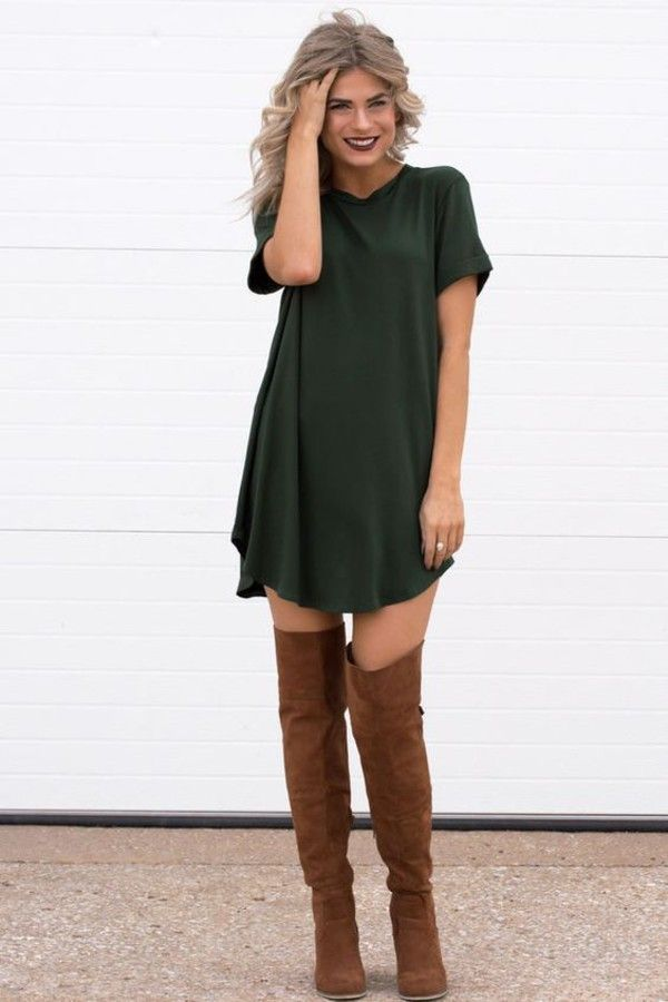65fcdc4c4b2f Pants  green dress trapeze long brown leather boots summer outfit idea  style street streetstyle