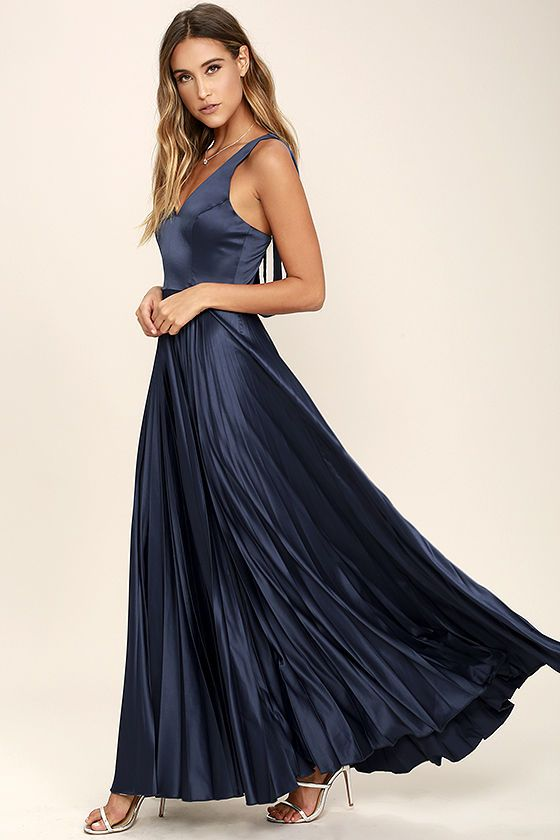 Epic Night Navy Blue Satin Maxi Dress | Pleated maxi, Blue satin ...