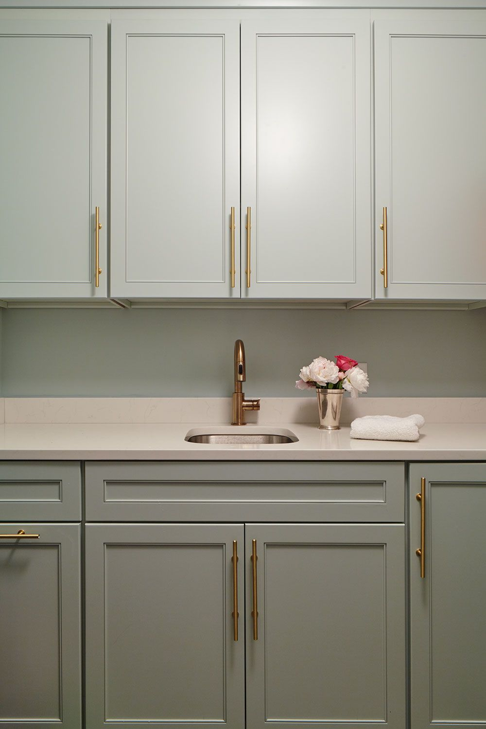 Blue Green Laundry Room With Custom Cabinets. Walls To Match. Lewis Dolan  Brass Pulls