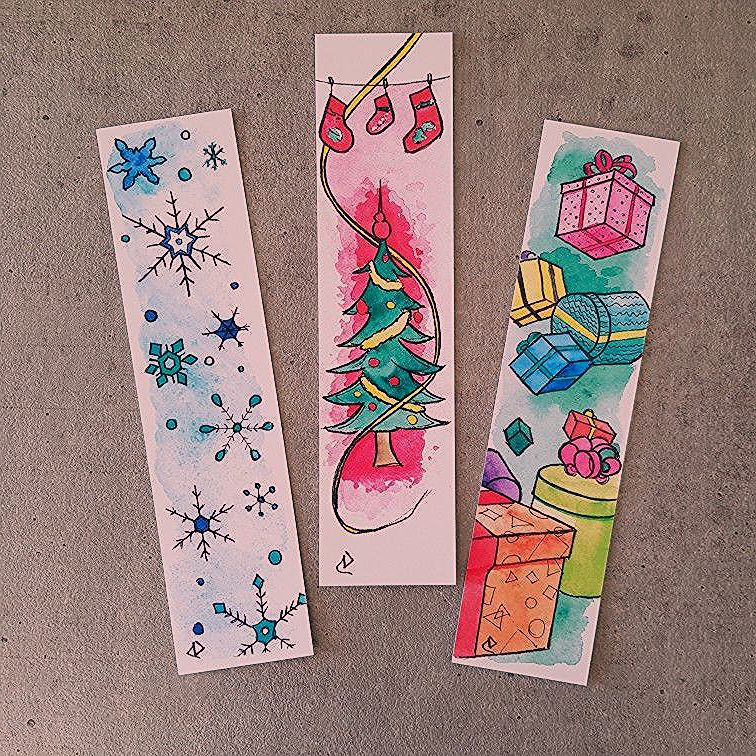 Original Watercolor Bookmarks Christmas Deca8 French Brand