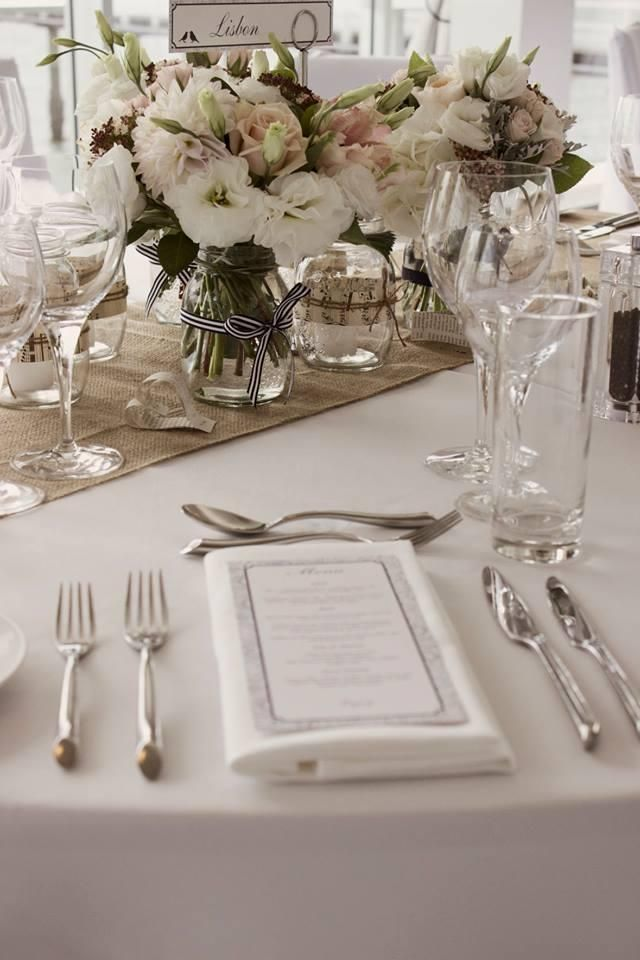 Gorgeous classic vintage table setting.  Hire Hessian Table Runners and Vintage Vases from  http://www.allureweddings.co.nz