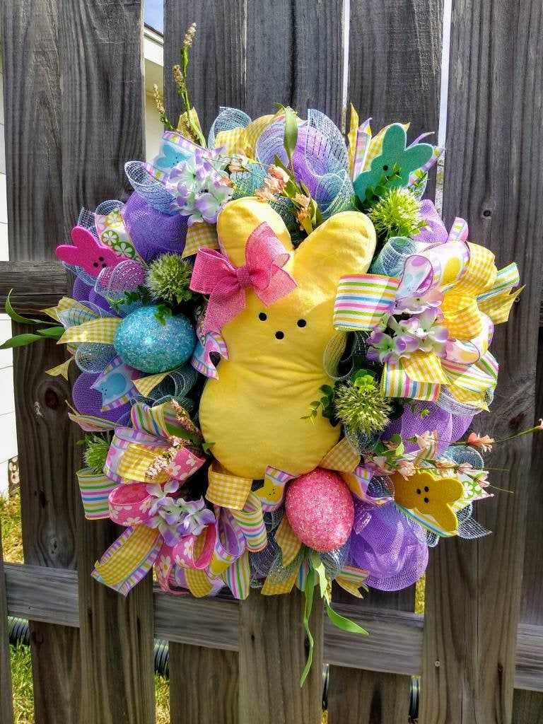 Photo of Bunny Wreath,Candy Sugar Bunny Easter Wreath,Yellow Sugar Bunny Wreath,Easter Wreath,Spring Wreath,Rabbit Wreath,Spring Decor,Best Seller!