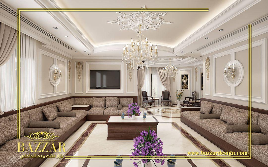 مجلس رجال على طراز النيو كلاسيك تم استخدام البانوهات المطعمة بالزخارف الذهبية لاضافة نوع من الفخامة Contemporary Bedroom Design Luxury Interior Bedroom Design