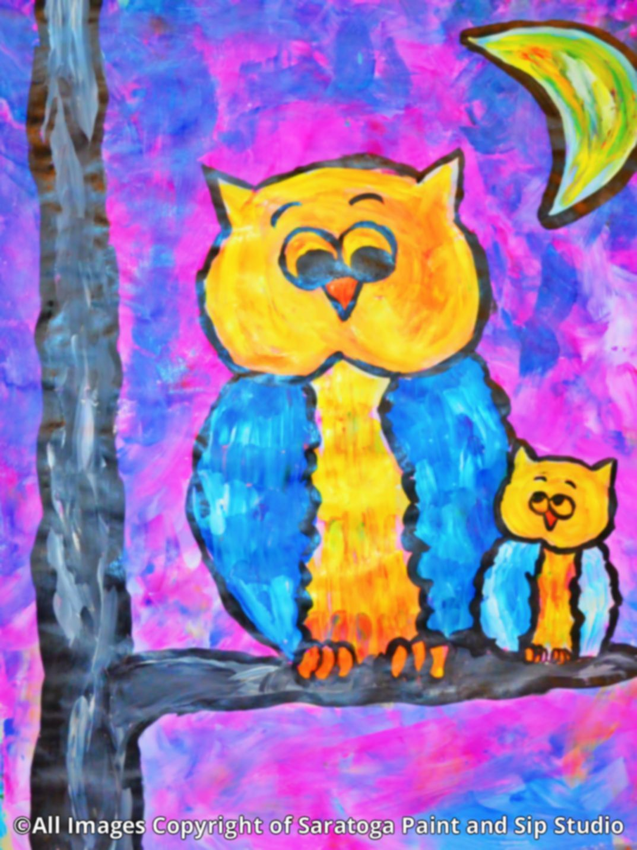 OWL FAMILY at Saratoga Paint & Sip Studio
