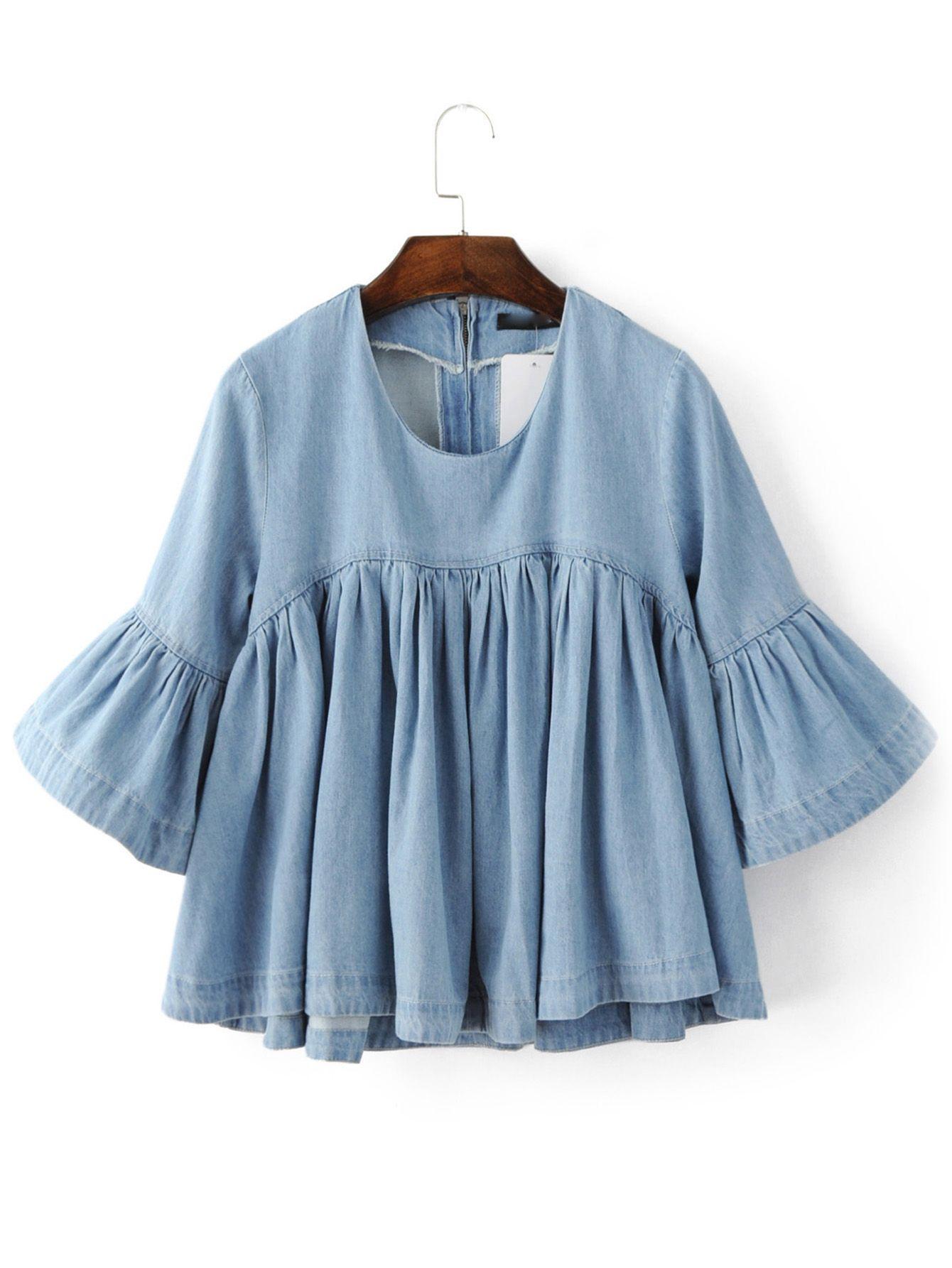 Shop Blue Bell Sleeve Ruffle Denim Doll Blouse online. SheIn offers Blue Bell…