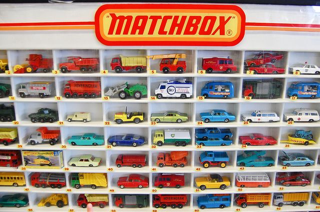 Vintage Matchbox Cars The brand was so named as the original die-cast Matchbox toys were sold in boxes similar in style and size to those in which matches were sold. Subsequently the brand would encompass a broad range of toys including larger scale die-cast models and various non die-cast lines such as plastic model kits and action figures.