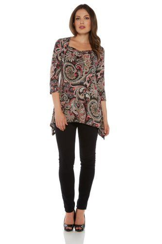 With a relaxed look and feel this cowl neck jersey top has a beautiful paisley pattern and a sparkly sequin detail all over. #paisley