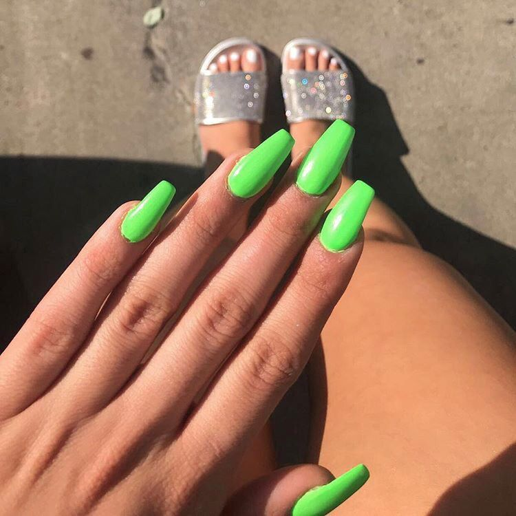 Green Neon Nails With Images Green Nails Neon Green Nails