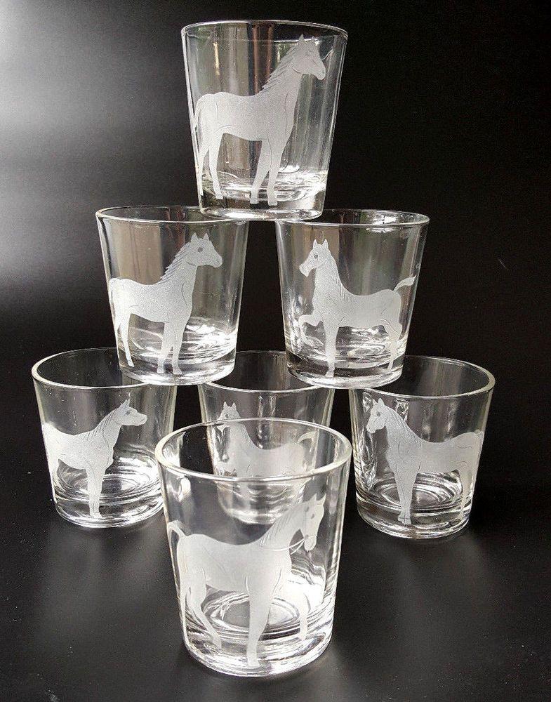 Vintage Lowball Whiskey Rocks Glasses Etched Horses Federal Set Of 7