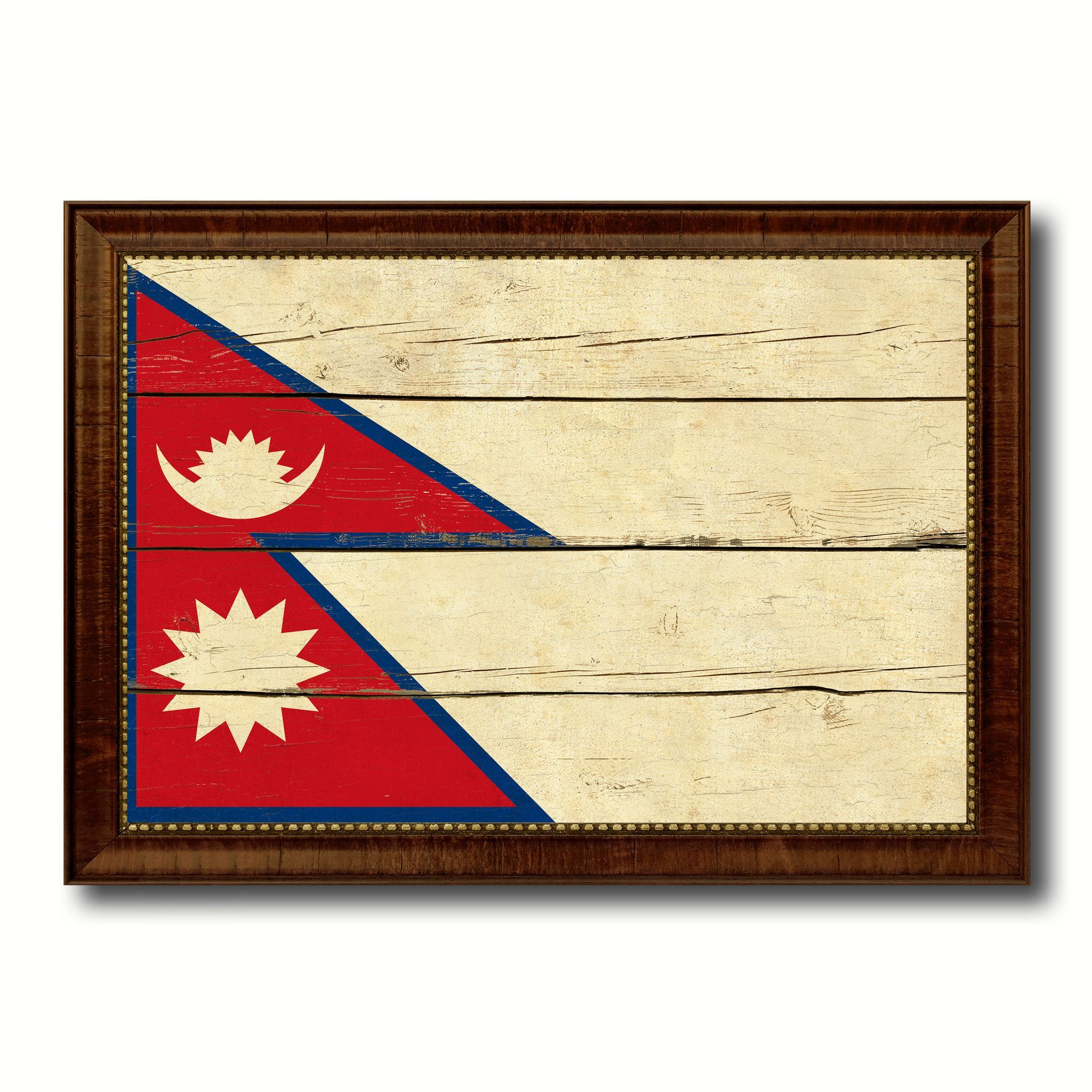 Nepal Country Flag Vintage Canvas Print with Brown Picture Frame ...