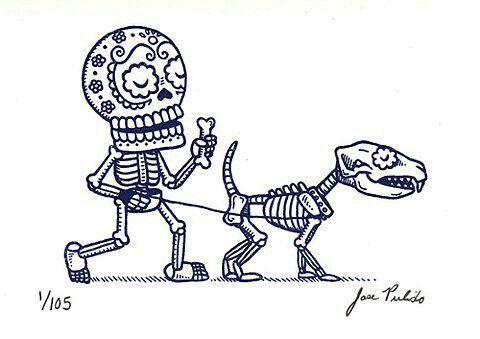 Calavera Con Perro Arte De Calavera De Alfenique Dibujo Dia De Muertos Esqueleto De Perro