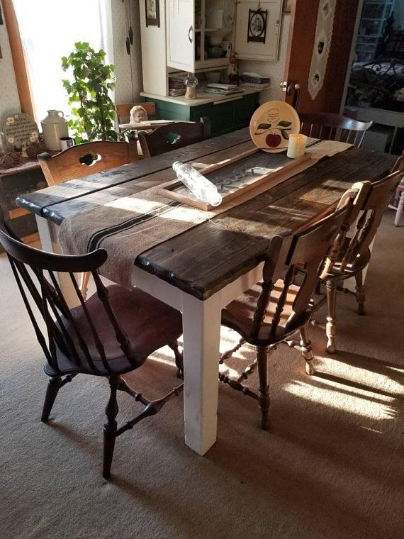 Dark Walnut Stained Amp Antique Country White Primitive Farmhouse Farm Distressed Kitchen Table 36