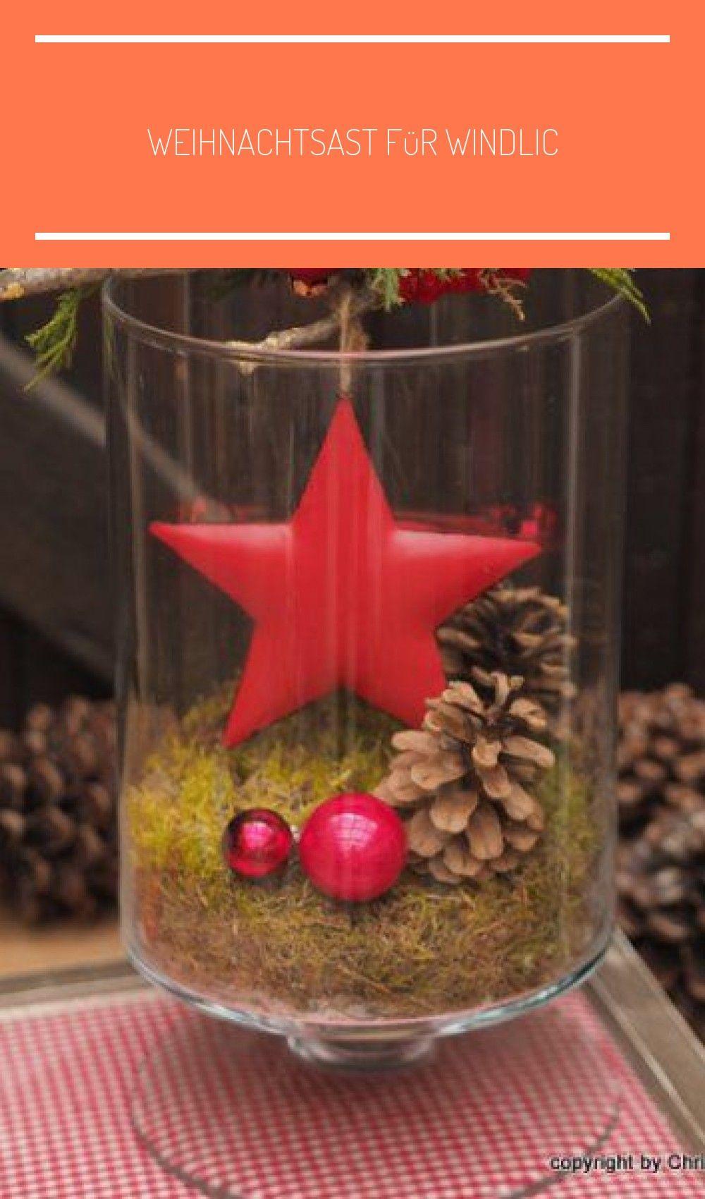 Weihnachtsast für Windlicht #rustikale weihnachten tischdeko #rustikaleweihnachtentischdeko