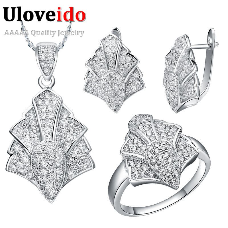 Find More Jewelry Sets Information about Fashion Jewelry Sets Pendant Necklace Women Jewelry Earrings Ring Silver Plated Crystal Necklaces Feather White Wedding T049,High Quality earrings crown,China earrings panda Suppliers, Cheap earrings cube from ULOVE Fashion Jewelry on Aliexpress.com