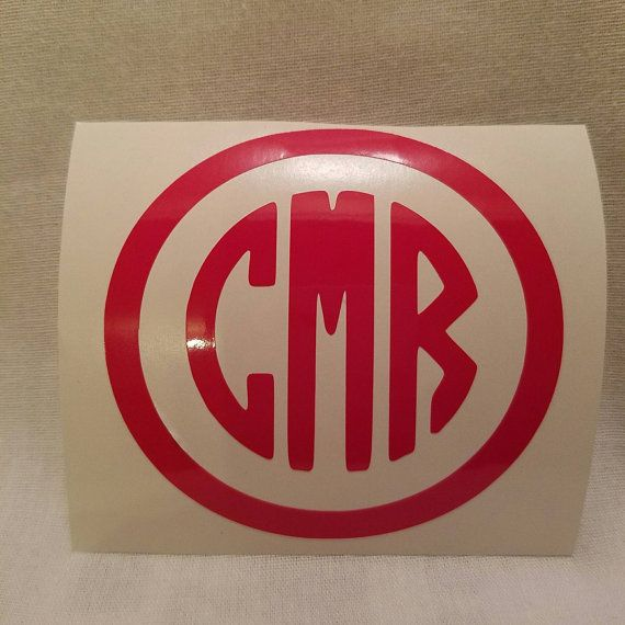 Custom round initial monogram decal by favordesignsboutique