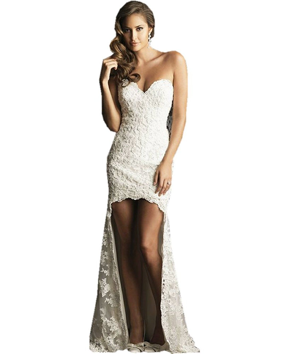 High low wedding dresses cheap  Oliviaus  Full Lace High Low Wedding Dresses Cheap Mermaid