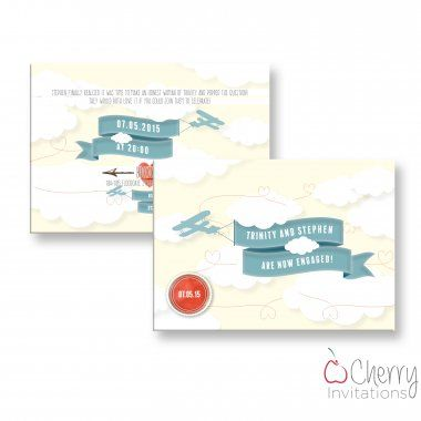Vintage Plane \ Banner Themed Double Sided Personalised Engagement - engagement party invitations free