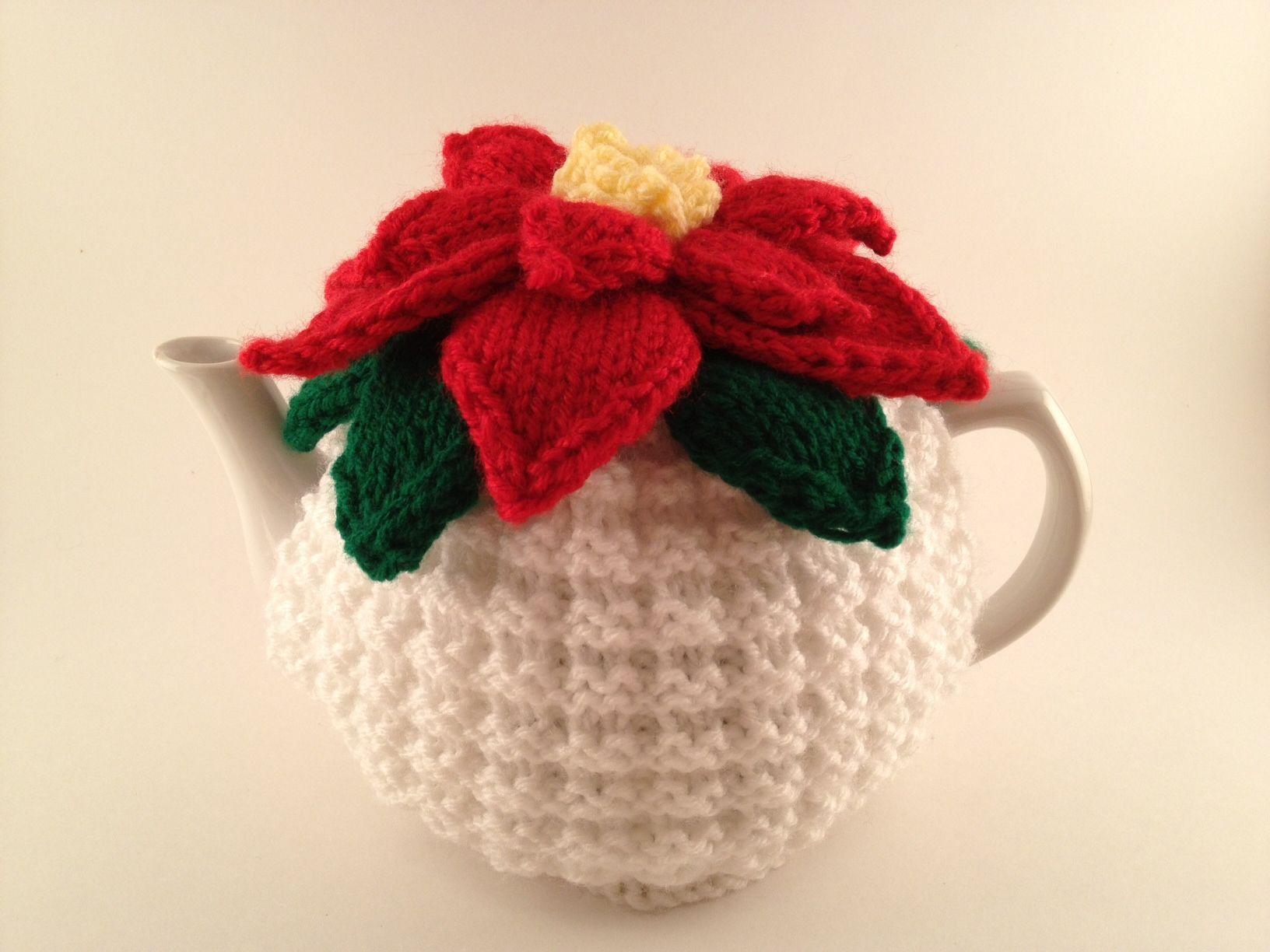 Poinsettia knit tea cosy tea cozy for your teapot handmade by poinsettia knit tea cosy tea cozy for your teapot handmade by nana bankloansurffo Choice Image
