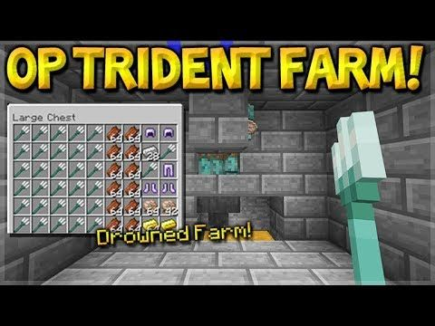 Minecraft How To Build the Most OP Drowned Trident Farm Nautilus Shell Gold PE Xbox Switch PC