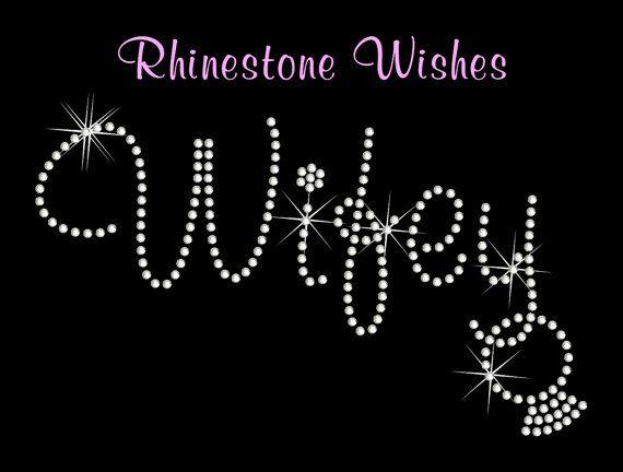 Wifey with Dangling Ring Rhinestone Transfer by RhinestoneWishes, $7.25
