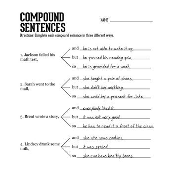 Compound Sentences 2 Teaching Writing Compound Sentences Writing Conventions Compound sentences worksheet with answers