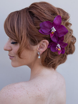 wedding hair with orchid