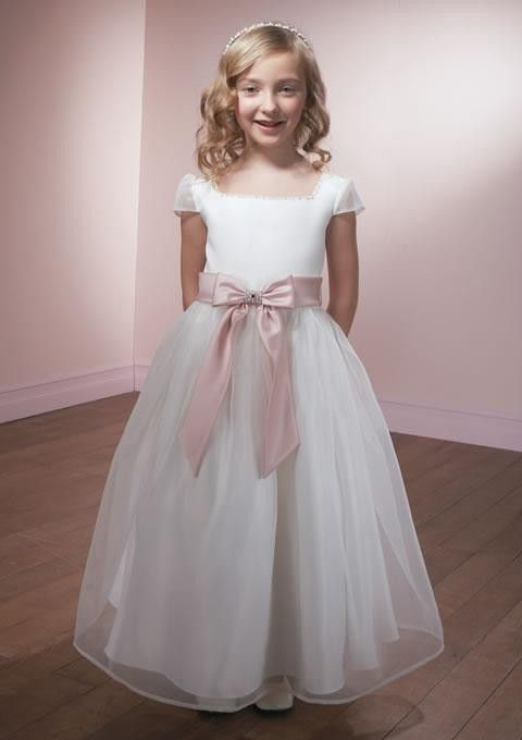 A-line Square Knee-Length organza Flower Girl Dress