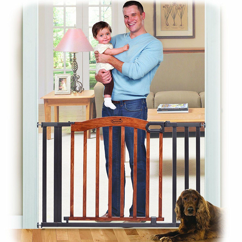 Safety Gate One Hand Walk Through Baby Child Pet Dog Door