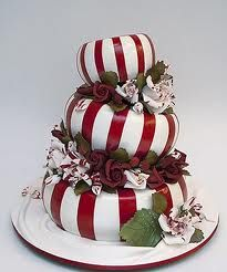 """Really pretty """"peppermint candy"""" Christmas cake!"""