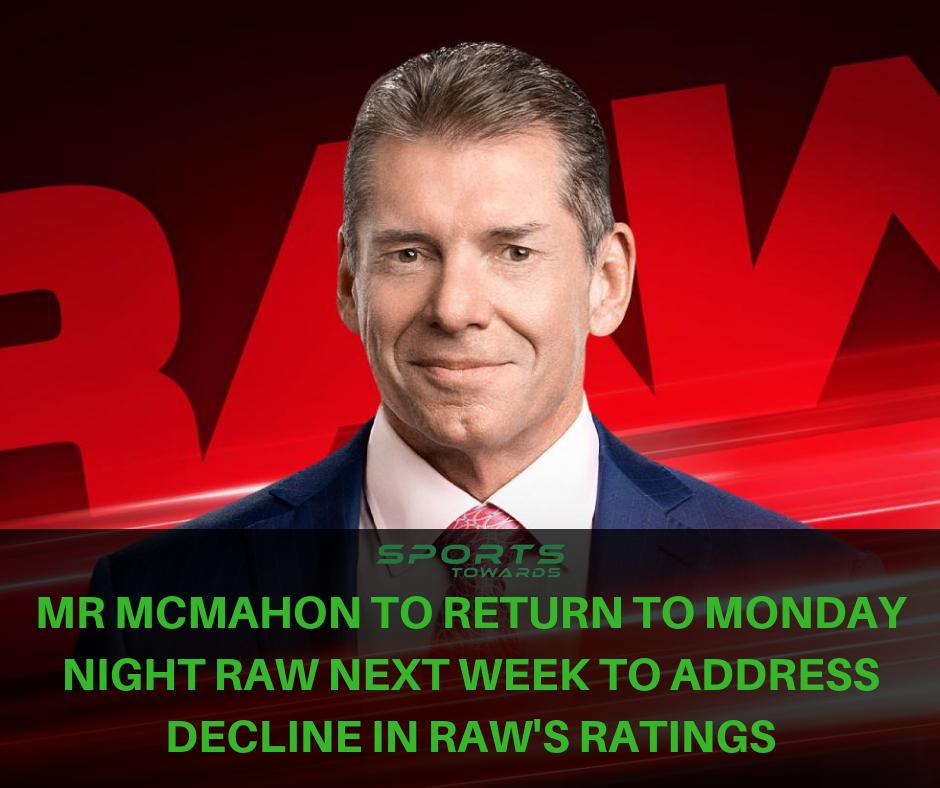 Vince Mcmahon To Return To Wwe Raw On Monday Amid Ratings Slump Latest Football News Basketball News Latest Cricket News