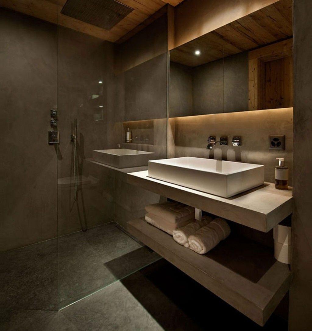 Bathrooms Are Plastered In Marmorino With White Floating Sink Vanity And Glass Shower Stalls Design Idea Mit Bildern Bad Inspiration Wohnung Badezimmer Modernes Badezimmer