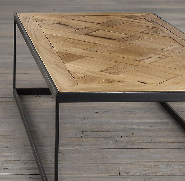 RHu0027s Reclaimed Russian Oak Parquet Coffee Table:Merging Old World And  Industrialu2026