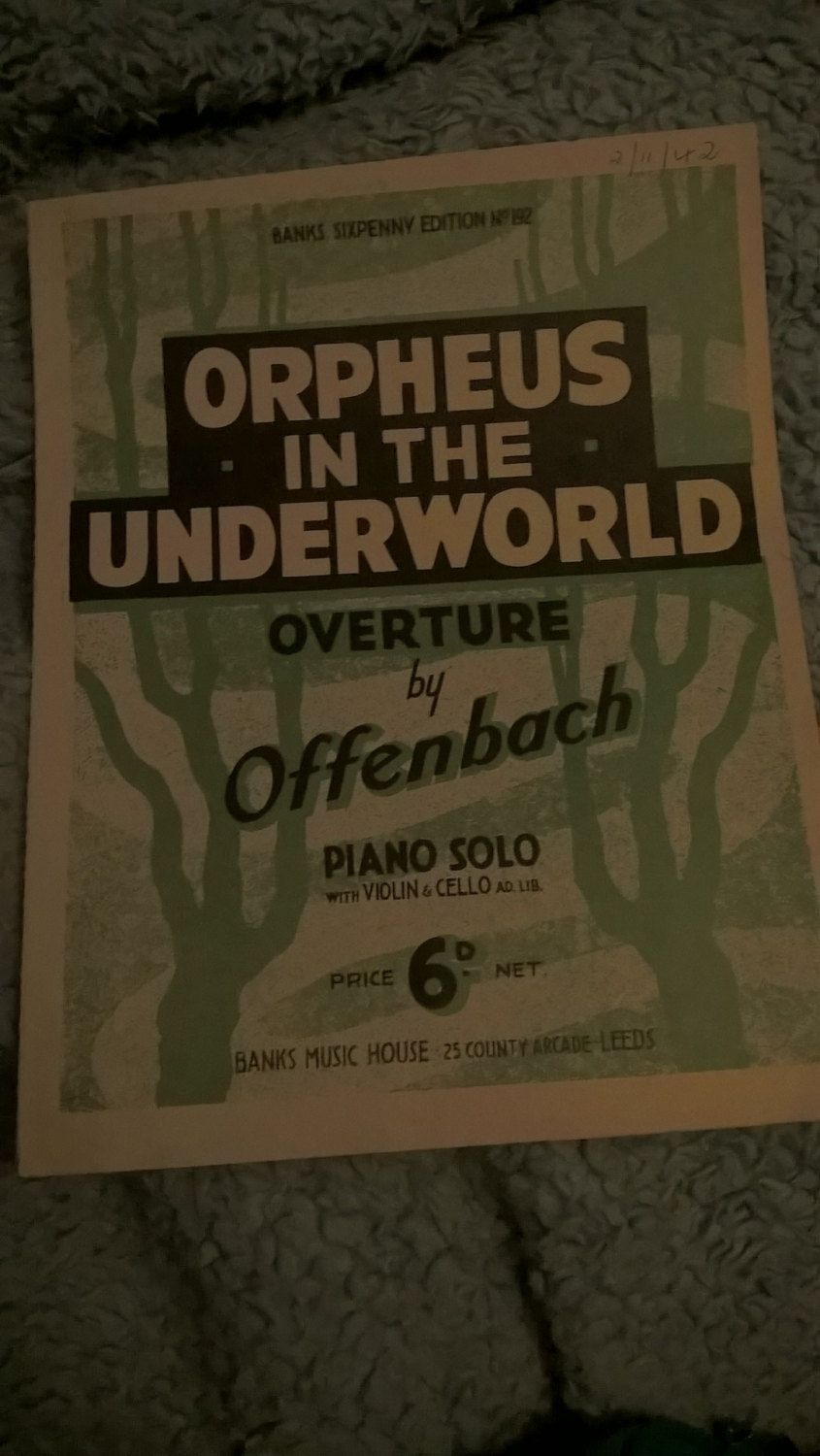 Banks Sixpenny Edition No 192 Orpheus In The Underworld Overture By Offenbach Piano Solo Overture Book Sale Underworld