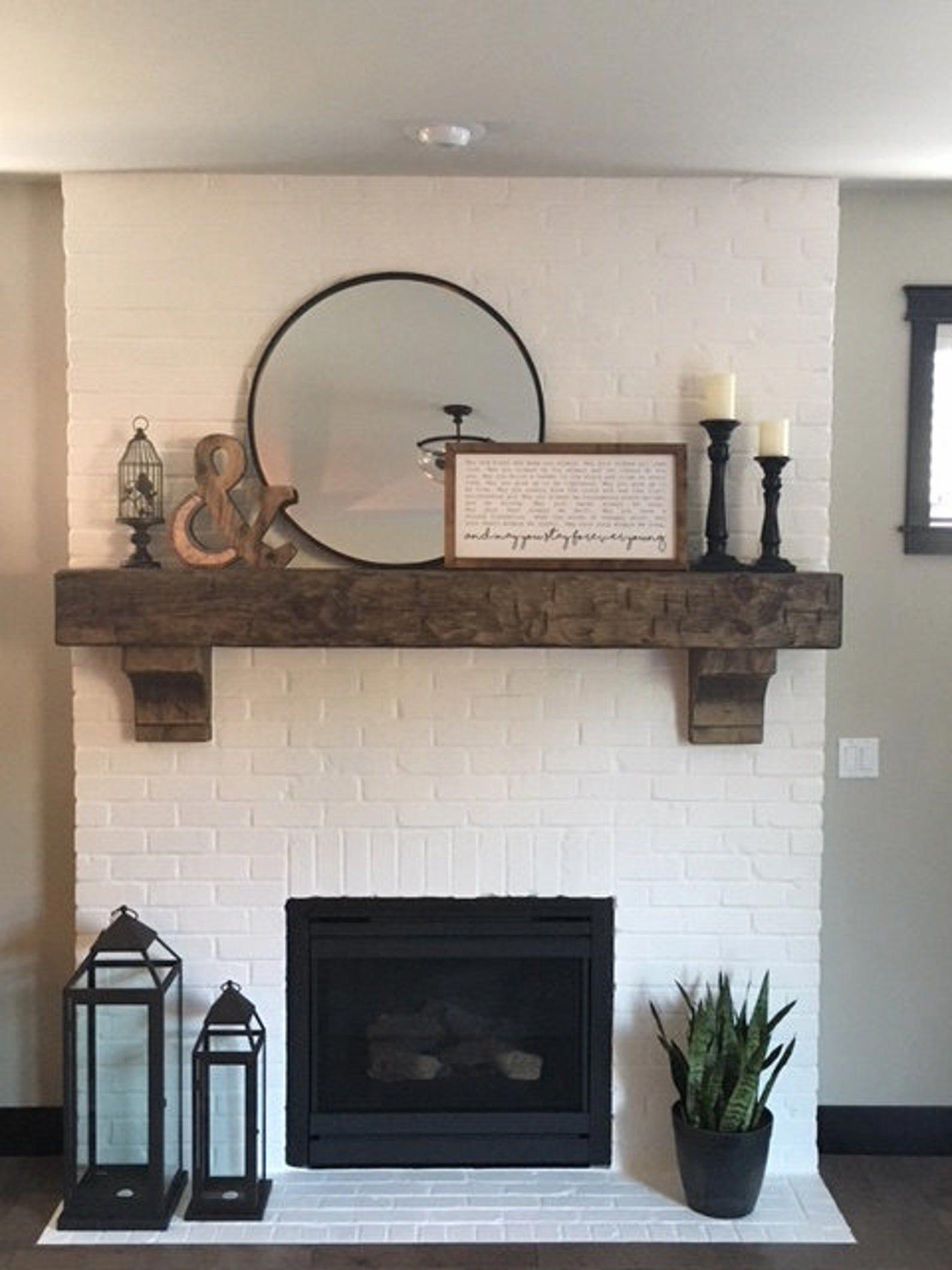 Fireplace Mantel 62 Custom Chunky Long Rustic 8 By 8 Etsy