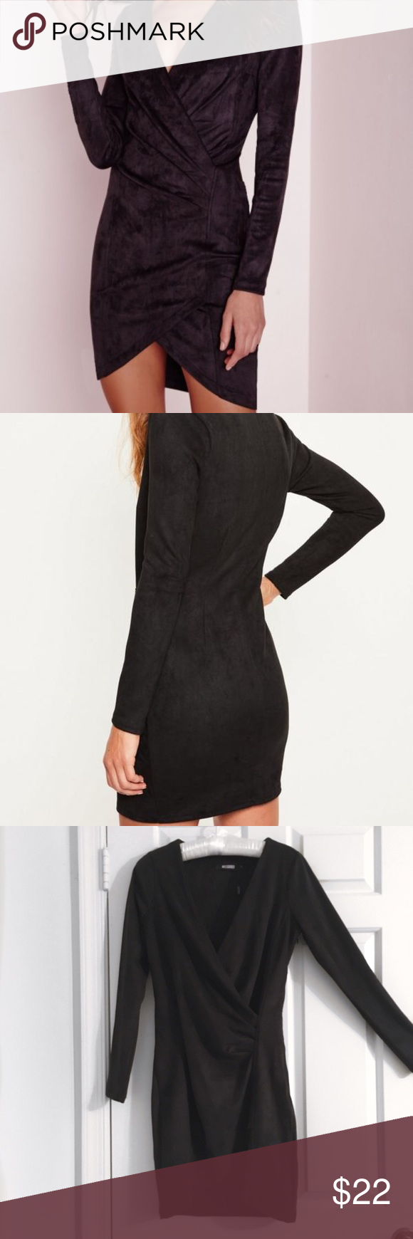 Missguided faux suede long sleeve wrap dress black missguided faux
