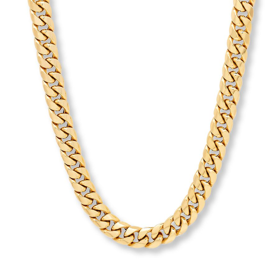 Mens Gold Tone 4mm Thick Cut Cuban Curb Link Chain Necklace 24 10mm w// lobster clasp