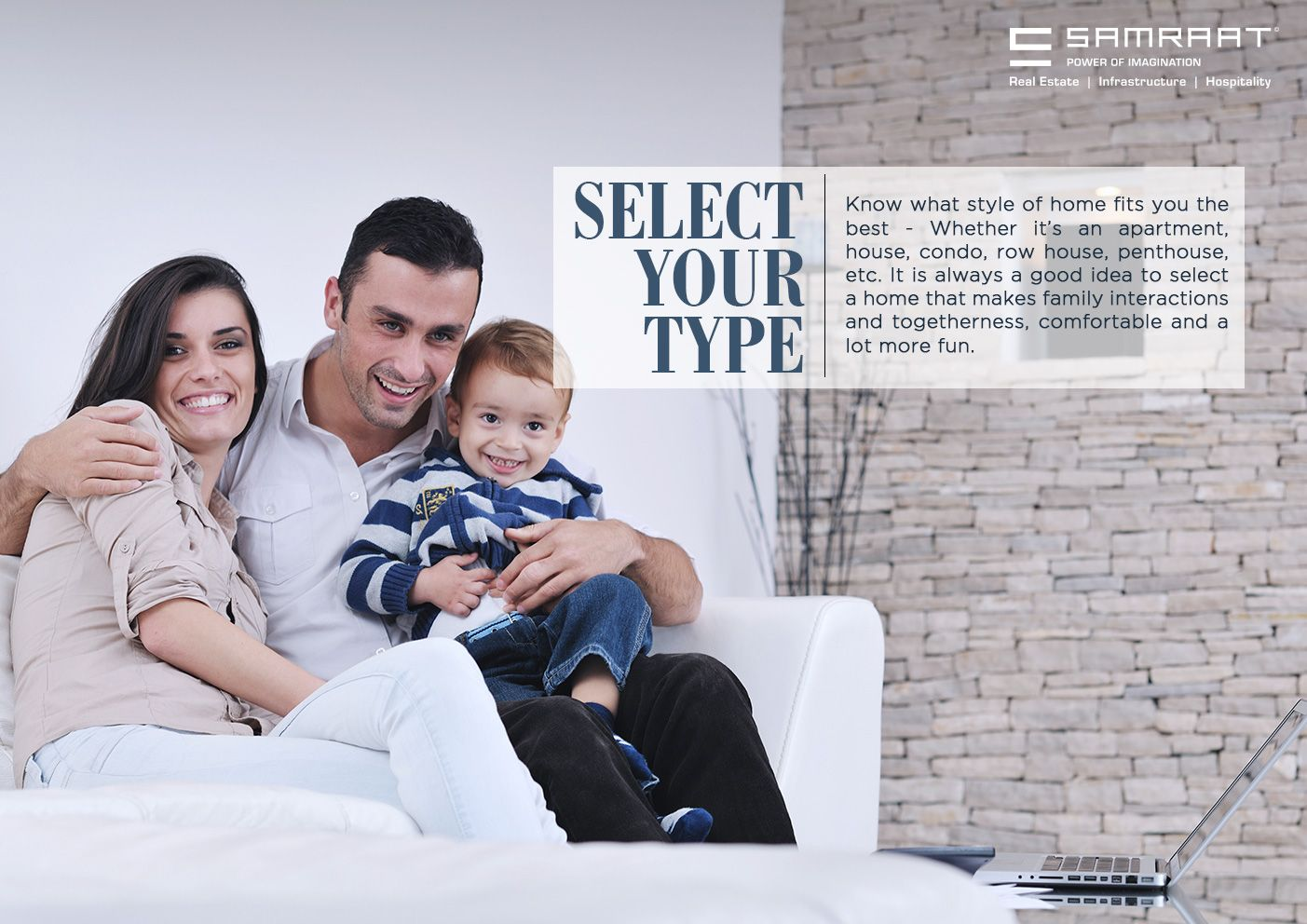 Samraat Group  SELECT YOUR TYPE - Know what style of home fits you the best -- Whether it's an apartment, house, condo, row house, penthouse, etc. It is always a good idea to select a home that makes family interactions and togetherness, comfortable and a lot more fun.   www.samraatgroup.com/  #SamraatGroup #RealEstate #Nashik