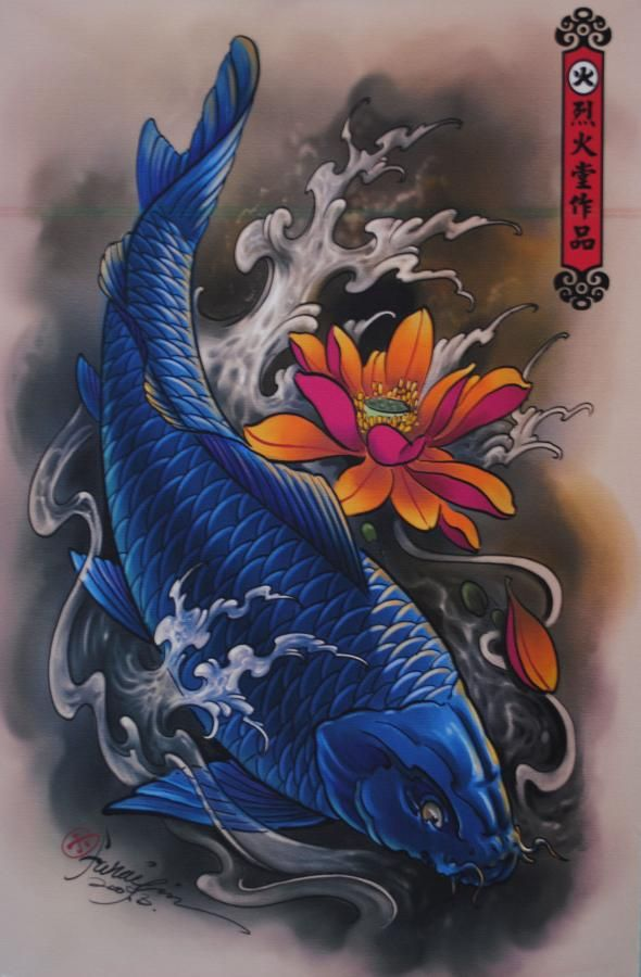 Tatuagem oriental 60 lindas tatuagens de carpas para se for Blue coy fish