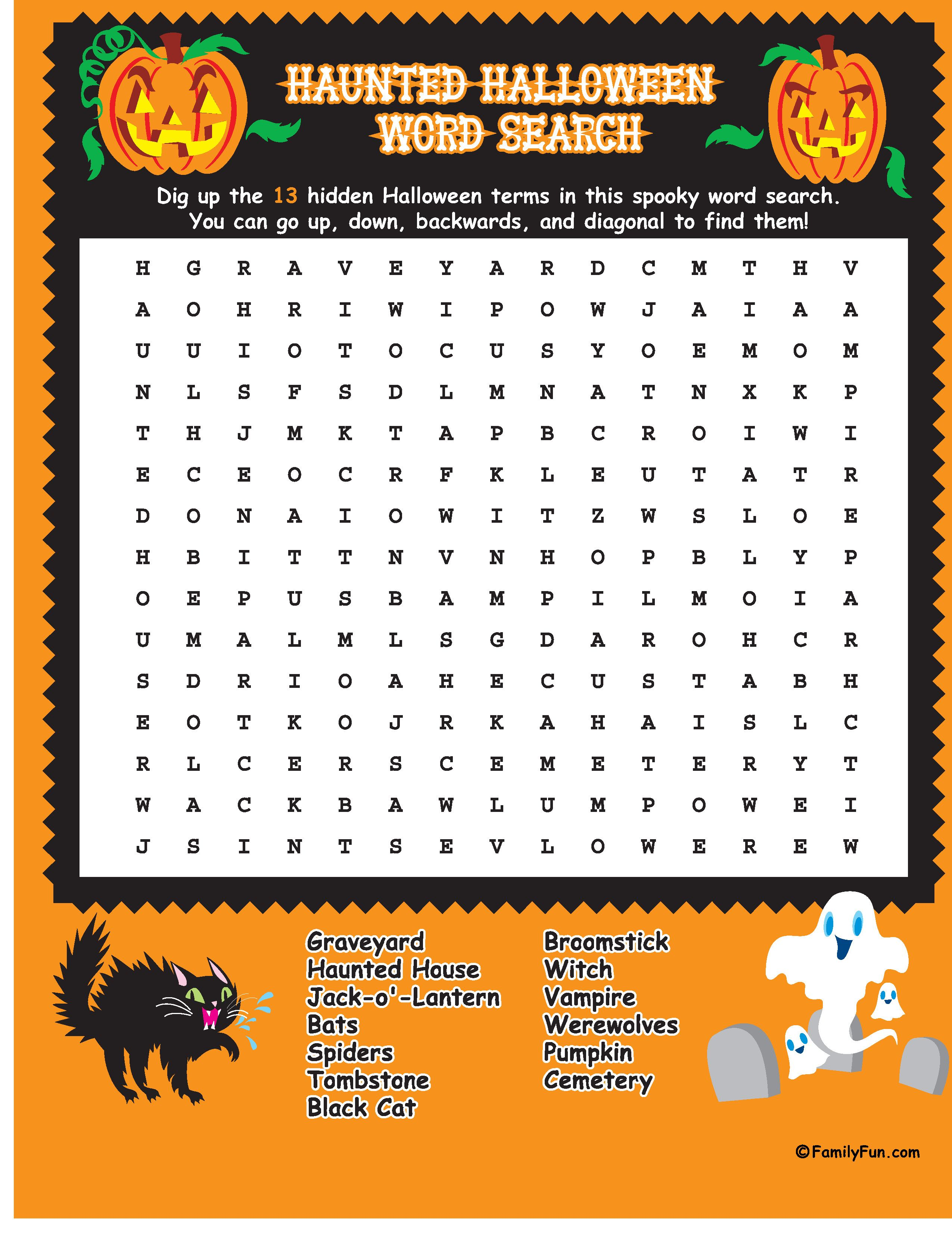 Halloween Word Search Eat For Goobags Or Busy